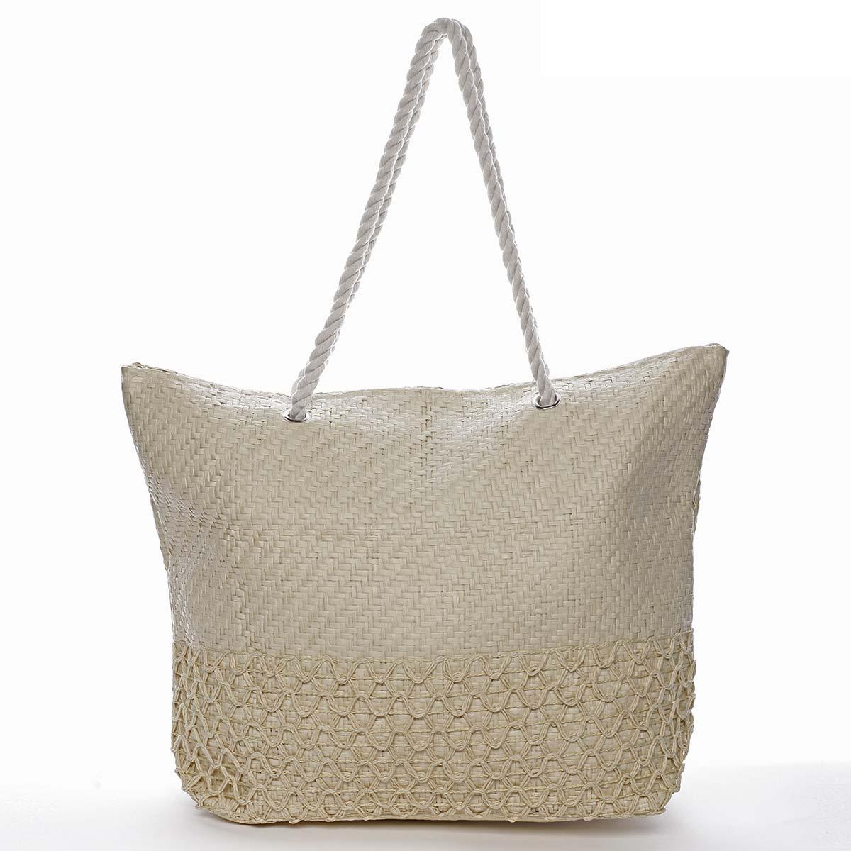 Luxusní plážová taška béžová - Delami Straw