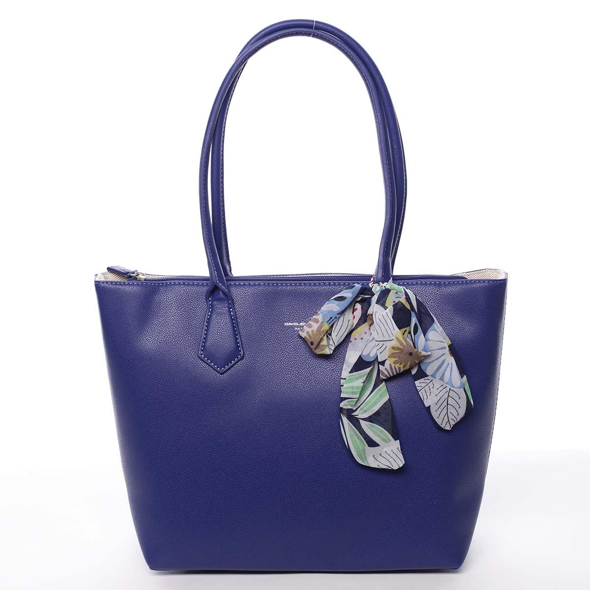 Velká dámská kabelka přes rameno modrá - David Jones Lowe