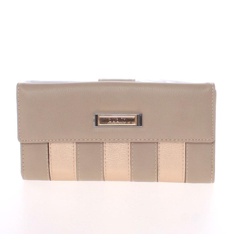 Luxusní velká dámská světlá taupe peněženka - Dudlin M377