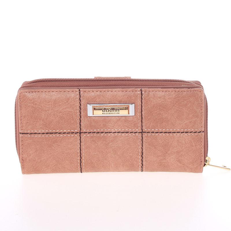 Módní větší dámská peněženka růžová - Dudlin M359