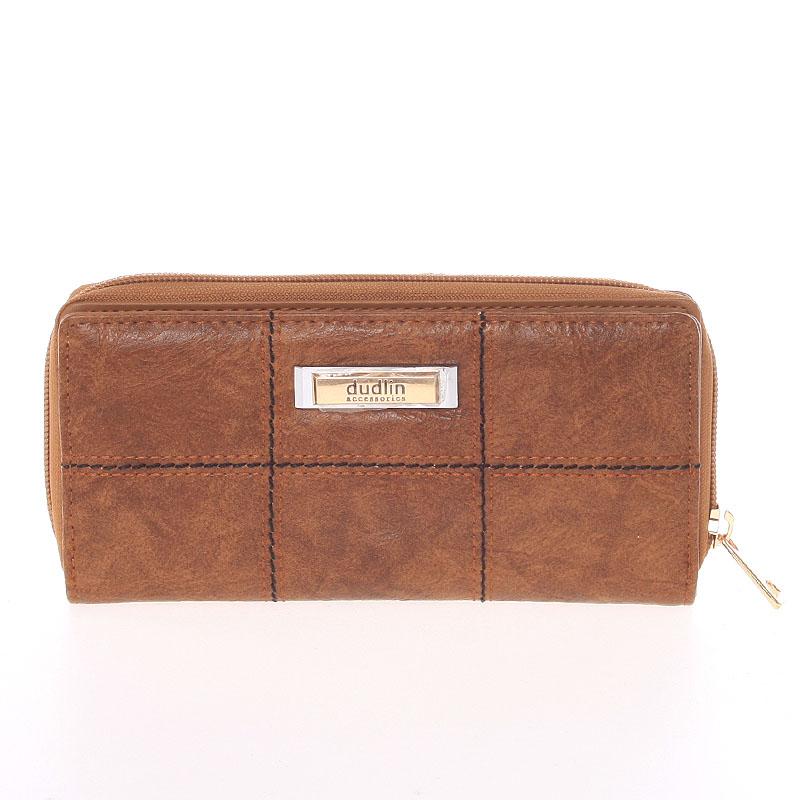 Módní větší dámská peněženka hnědá - Dudlin M359