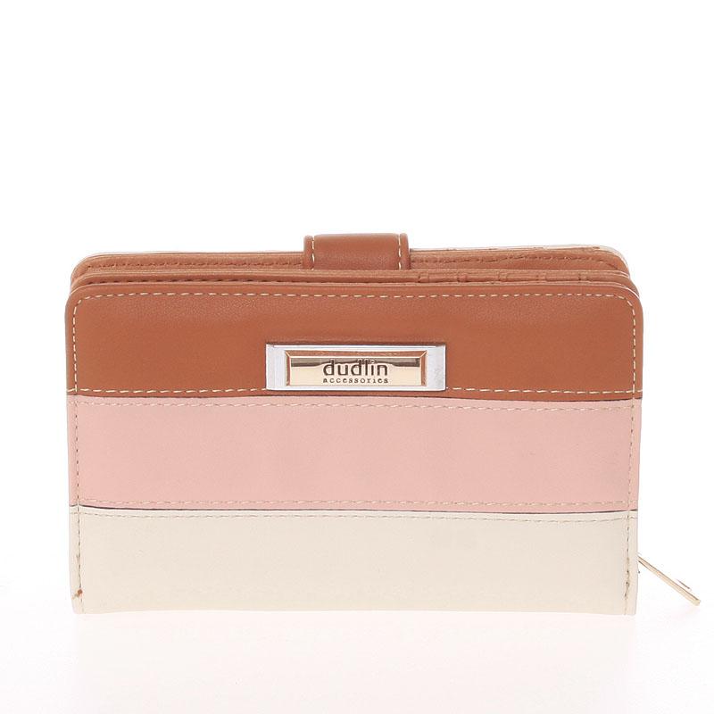 Středně velká dámská hnědo béžová peněženka - Dudlin M380