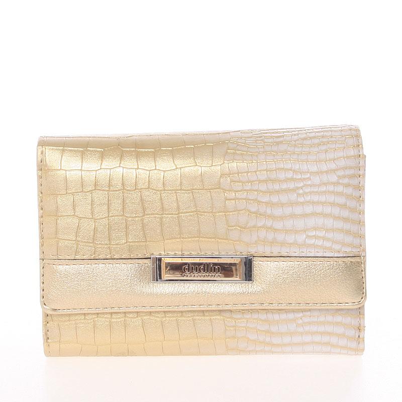 Luxusní středně velká zlatá dámská peněženka - Dudlin M375