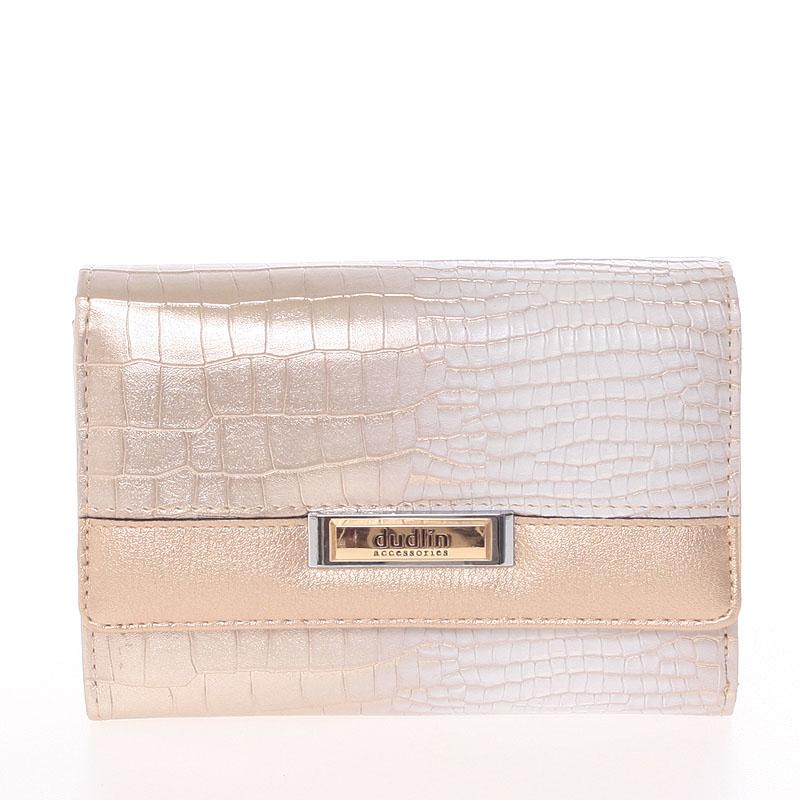 Luxusní středně velká lesklá růžová dámská peněženka - Dudlin M375