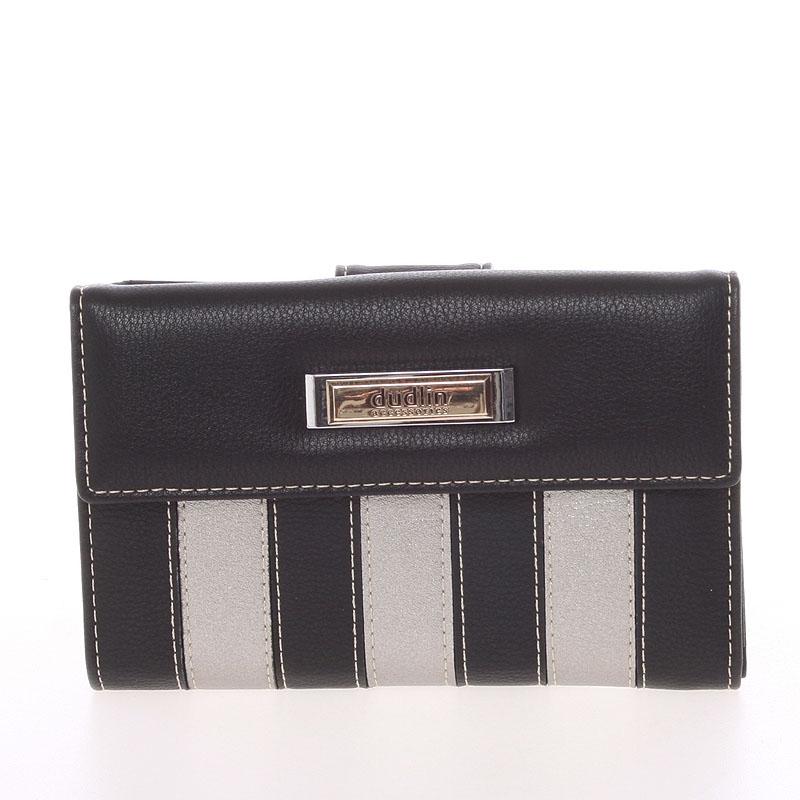 Dámská větší pruhovaná černá peněženka - Dudlin M378