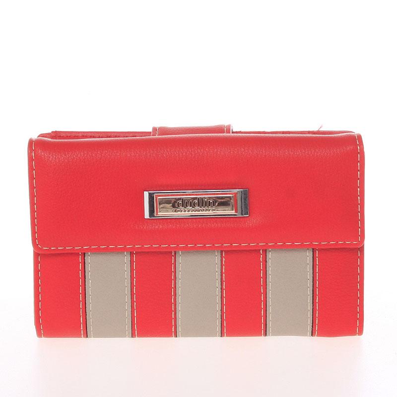 Dámská větší pruhovaná červená peněženka - Dudlin M378