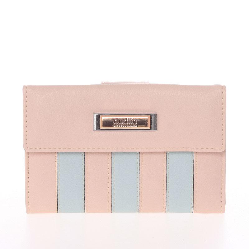 Dámská větší pruhovaná světle růžová peněženka - Dudlin M378