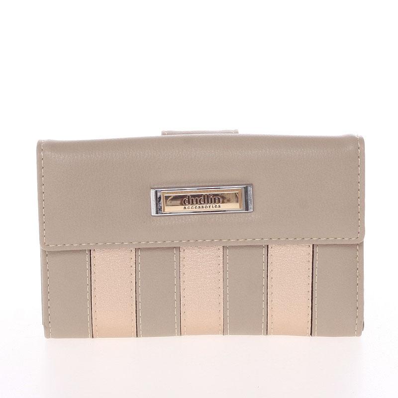 Dámská větší pruhovaná taupe peněženka - Dudlin M378