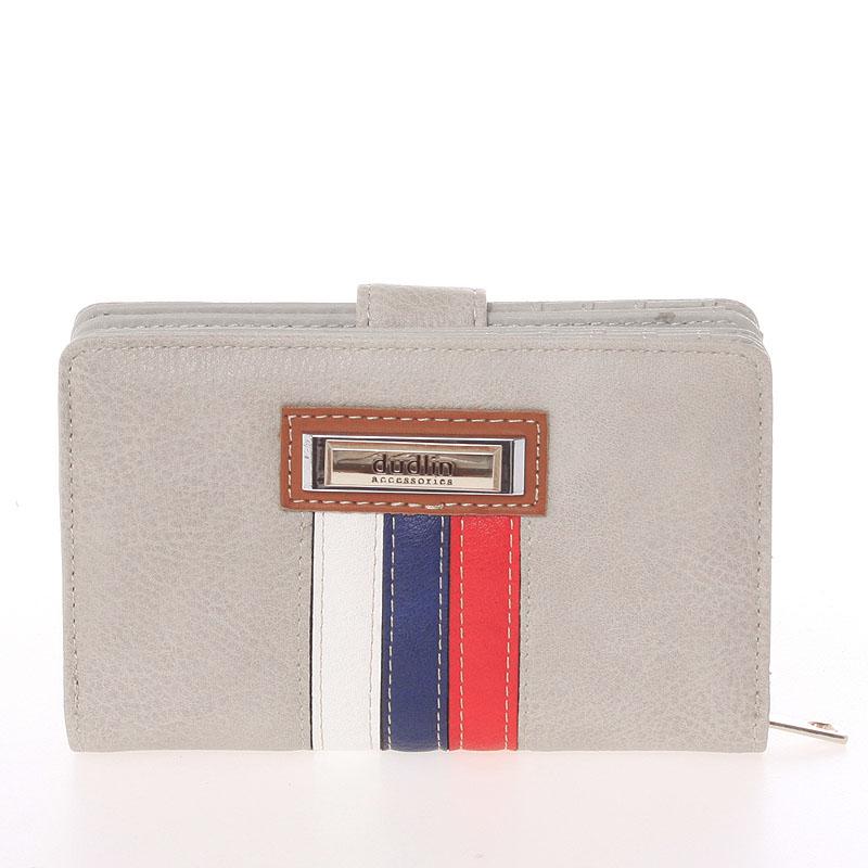Střední originální dámská světle šedá peněženka - Dudlin M384
