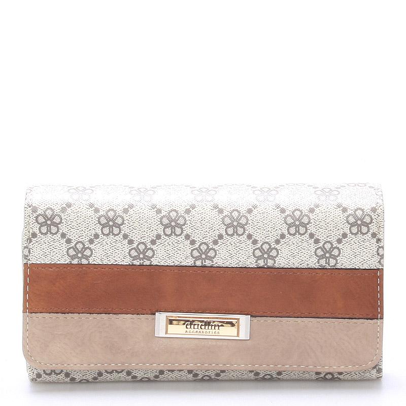 Velká luxusní dámská béžová peněženka - Dudlin M237
