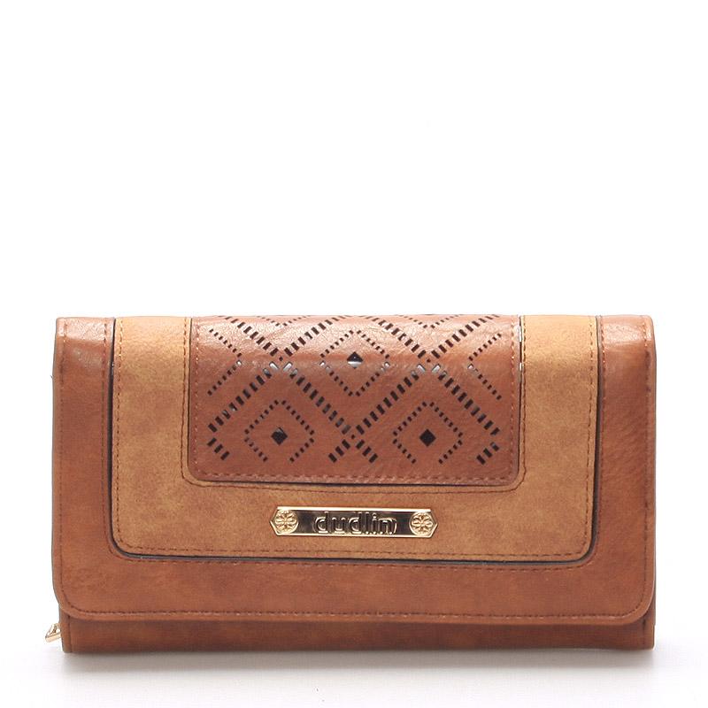 Velká luxusní hnědá peněženka - Dudlin M242