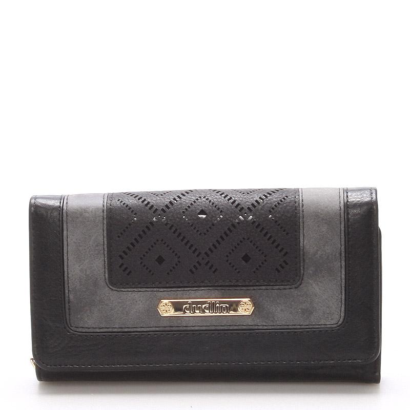 Velká luxusní černá peněženka - Dudlin M242