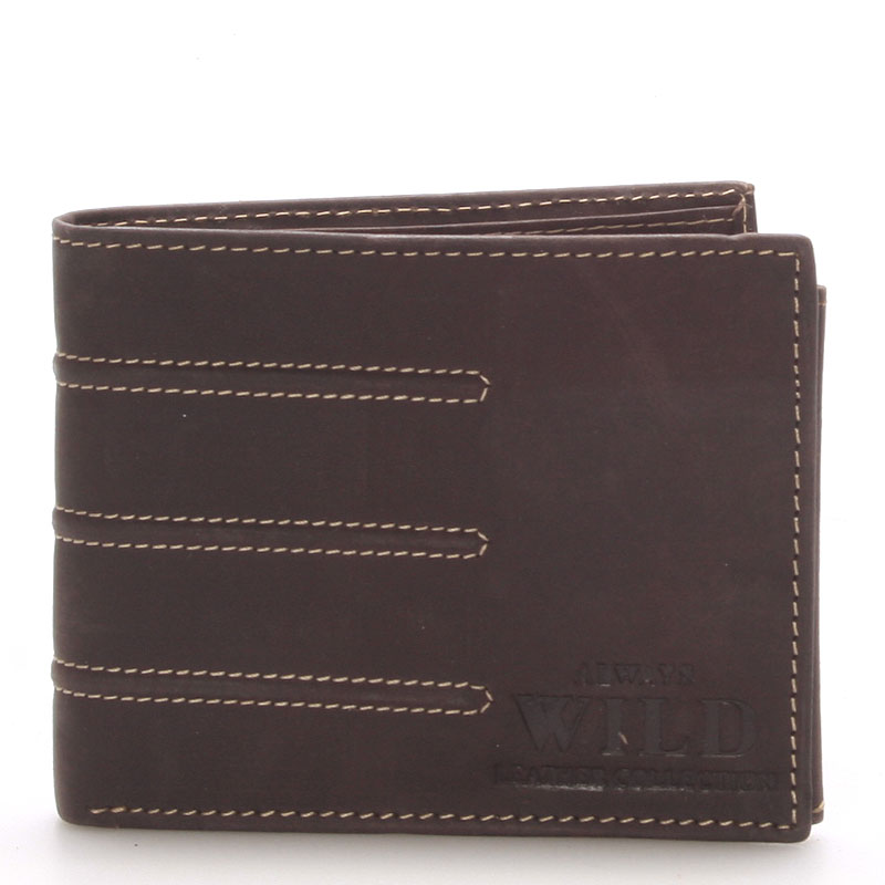 Pánská kožená peněženka hnědá - WILD Dariel