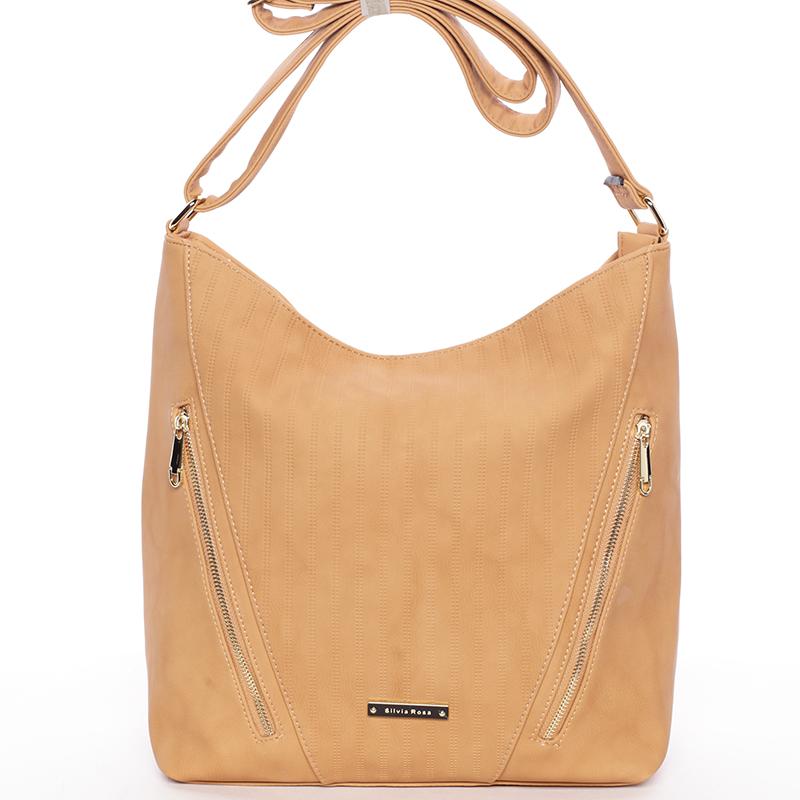 Elegantní dámská kabelka přes rameno hnědá - Silvia Rosa Adorlee