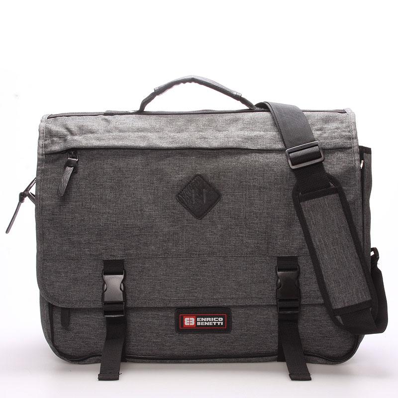 Látková pánská taška přes rameno šedá - Enrico Benetti 4548