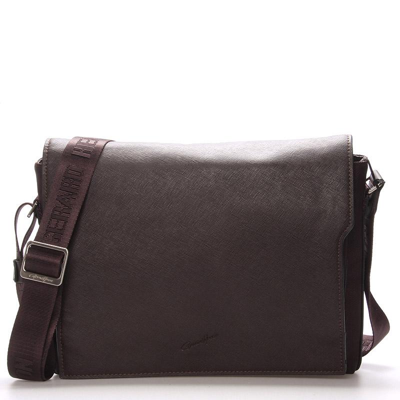 Pánská kožená taška přes rameno hnědá - Gerard Henon Alain