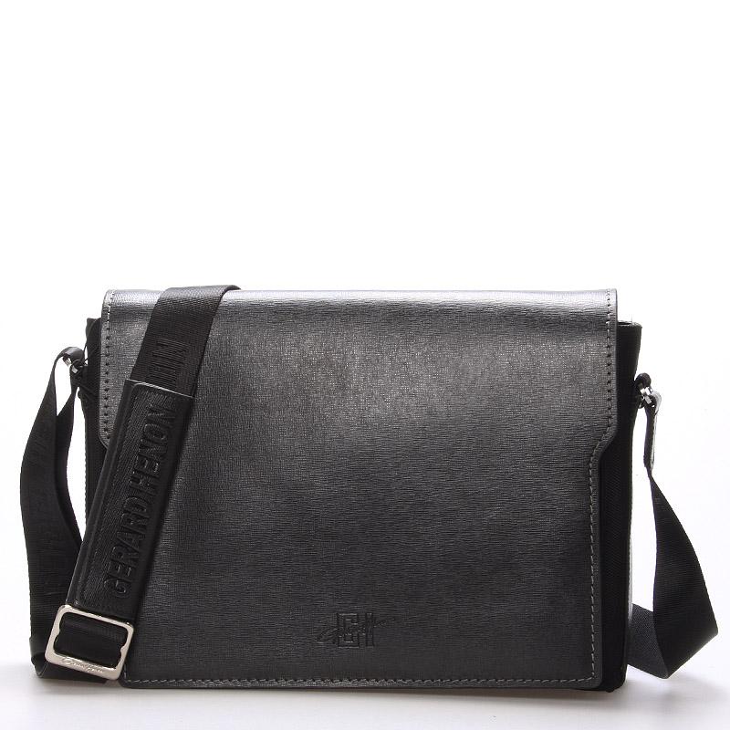 Pánská kožená taška přes rameno černá - Gerard Henon Alain