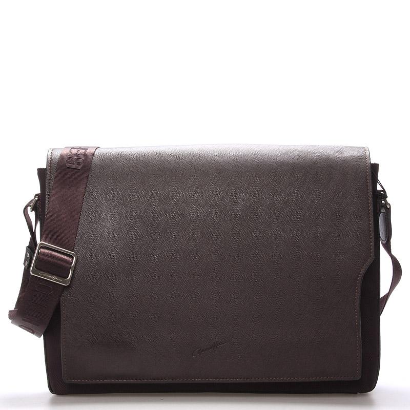 Pánská kožená taška přes rameno hnědá - Gerard Henon Jean