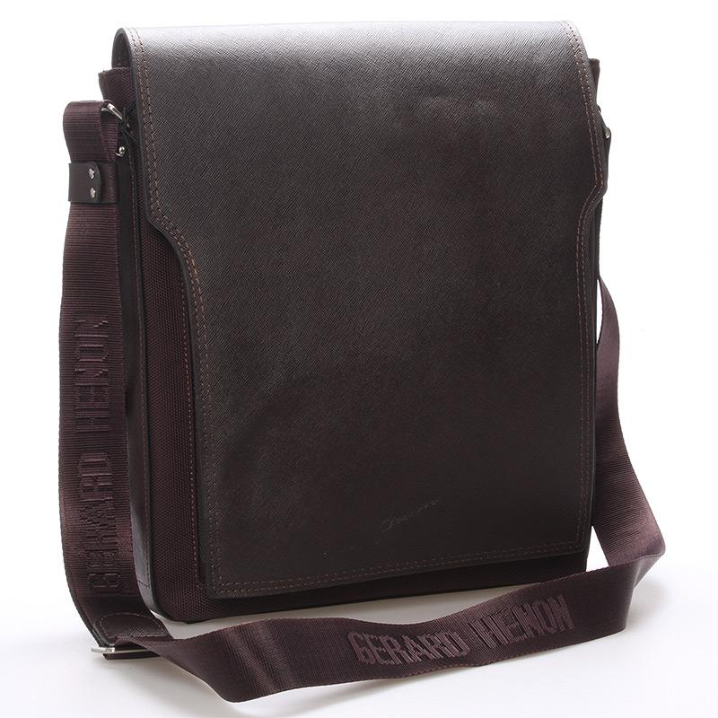 Pánská kožená taška přes rameno hnědá - Gerard Henon Bernard