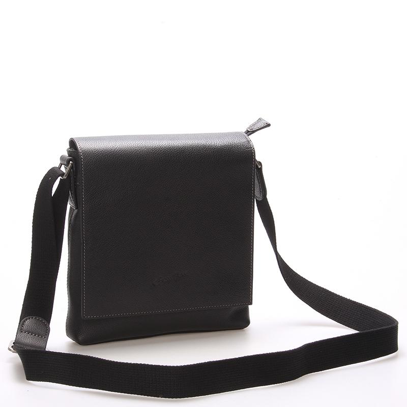 Luxusní kožená taška přes rameno černá - Gerard Henon Frederic