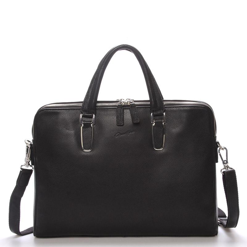 Pánská kožená taška přes rameno černá - Gerard Henon Gaston