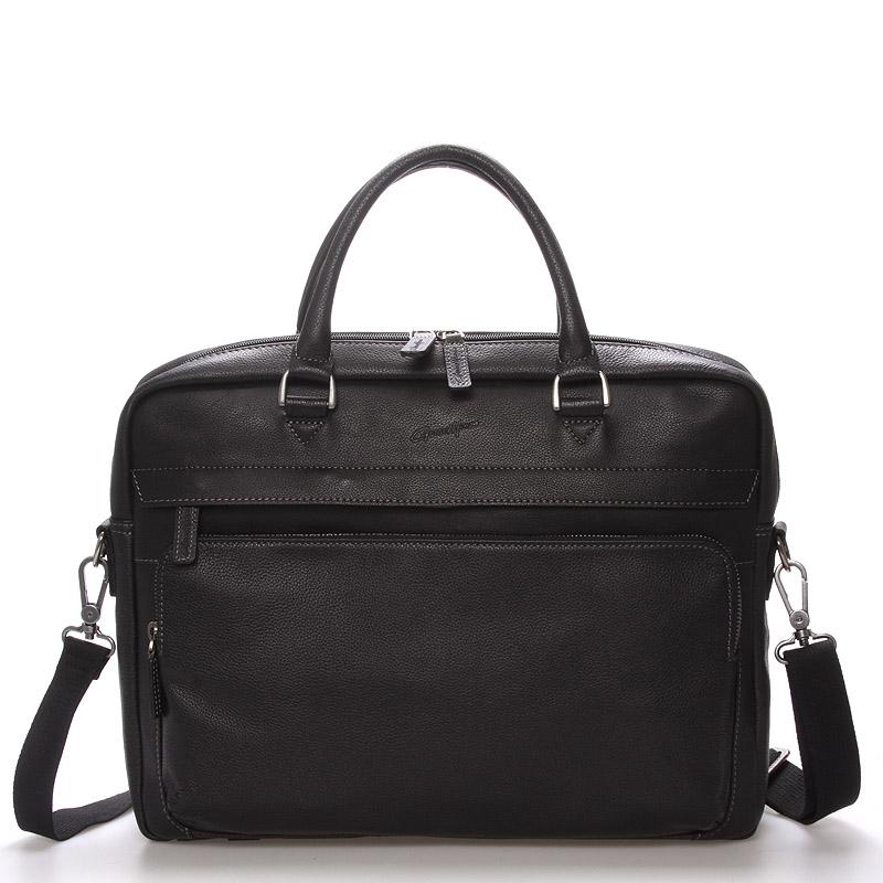 Pánská kožená taška přes rameno černá - Gerard Henon Mikel