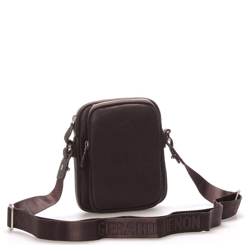 Pánská kožená taška přes rameno na doklady hnědá - Gerard Henon Tristan