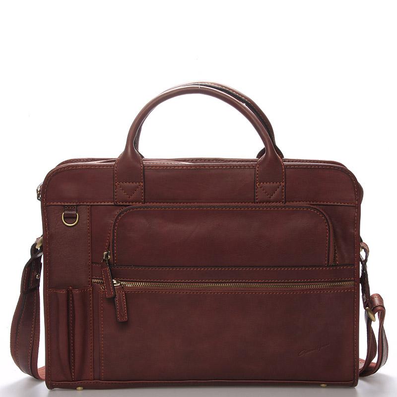 Pánská kožená taška přes rameno hnědá - Gerard Henon Perrin