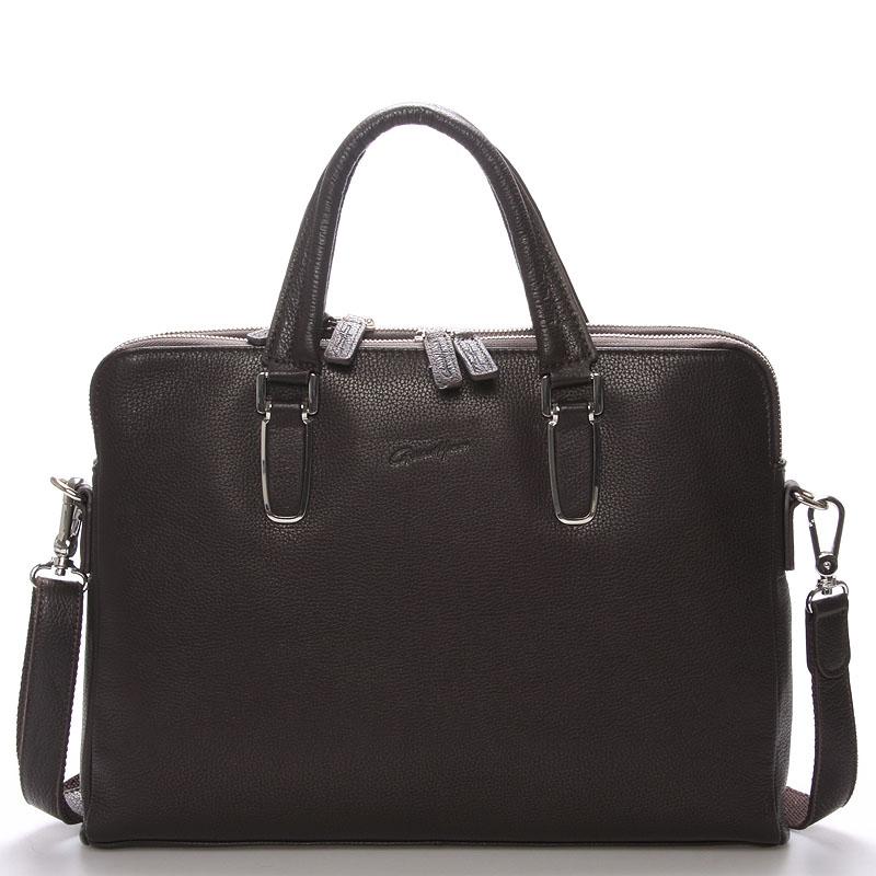 Luxusní kožená taška hnědá - Gerard Henon Edmond