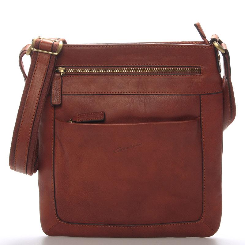 Pánska kožená taška přes rameno hnědá - Gerard Henon Curt