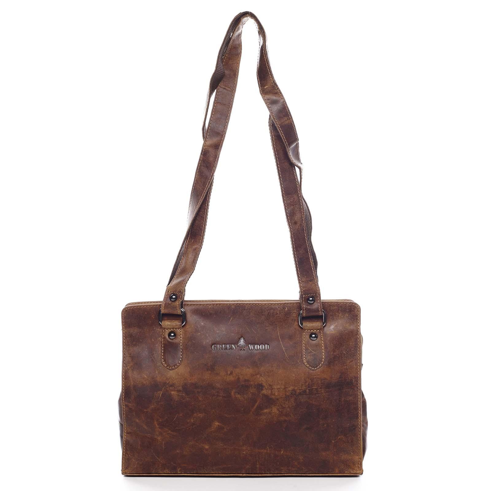 Dámská kožená kabelka přes rameno hnědá - Greenwood Kamille