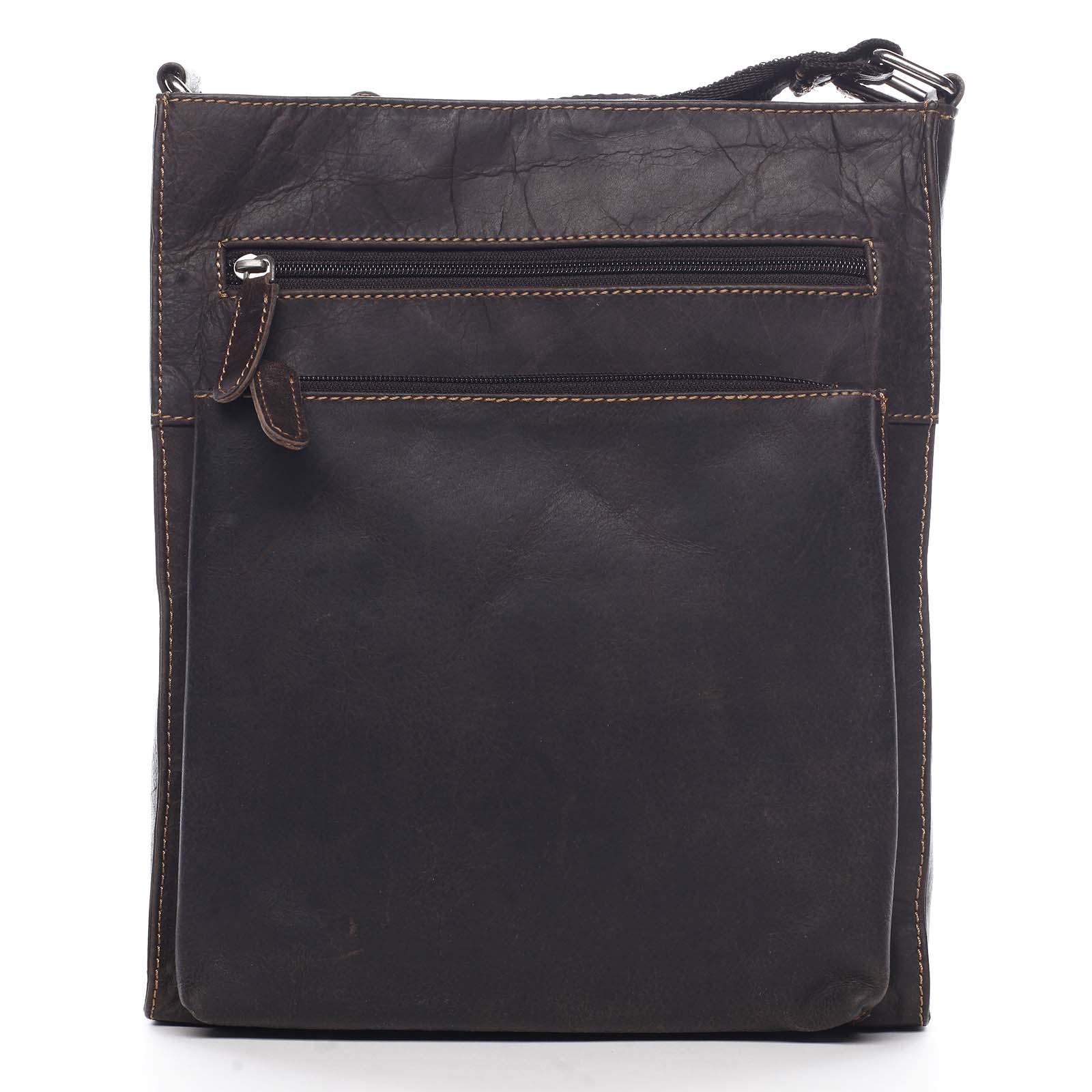 Pánská kožená crossbody taška tmavě hnědá - Greenwood Sebasrian