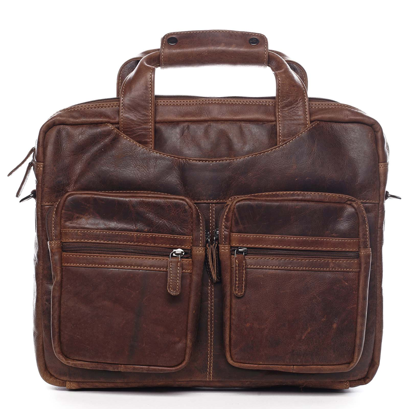 Velká pánská kožená taška na notebook hnědá - Greenwood Experes