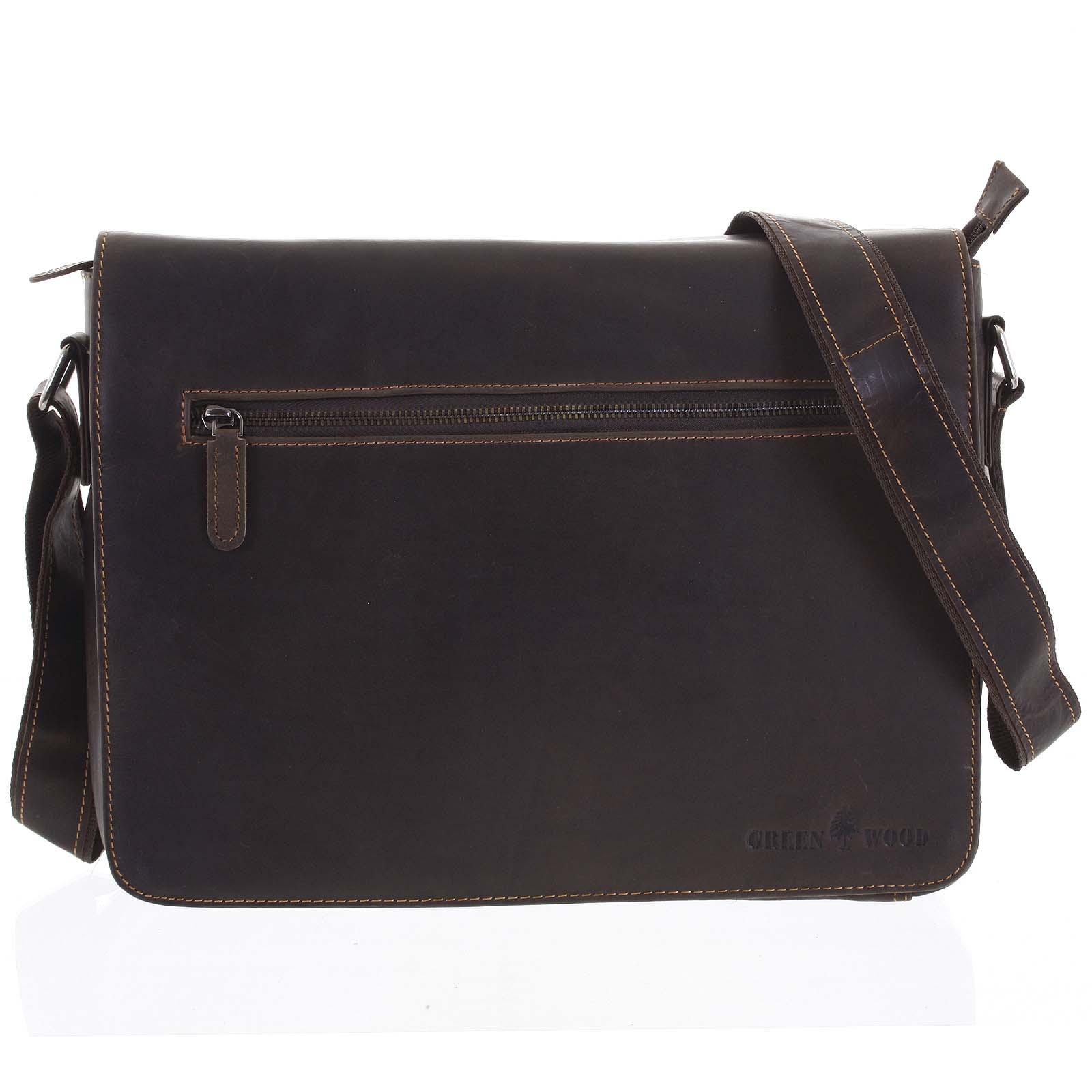 Pánská kožená taška tmavě hnědá - Greenwood Magnetto