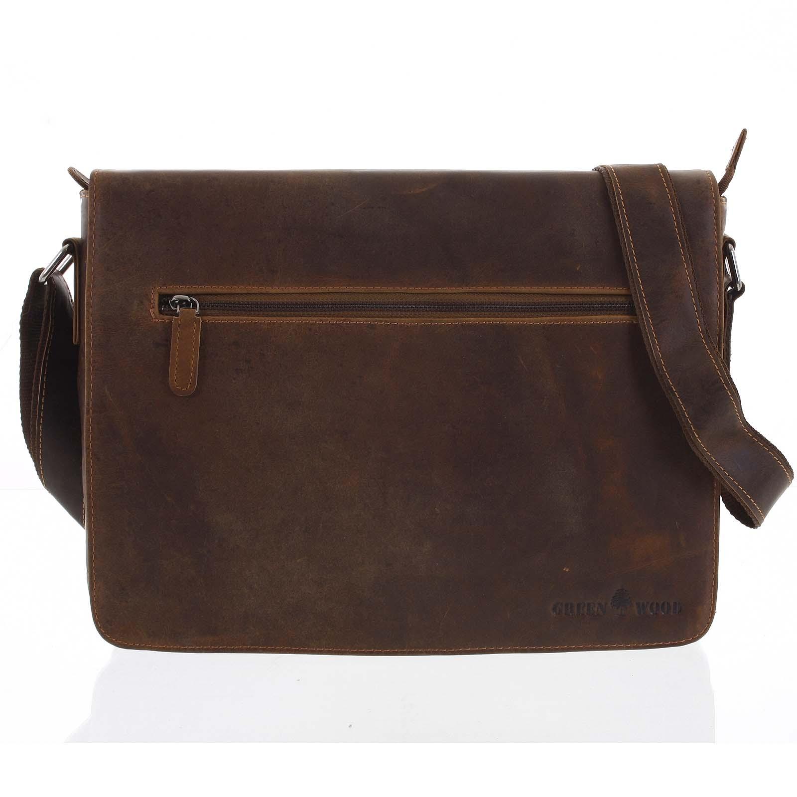 Pánská kožená taška hnědá - Greenwood Magnetto