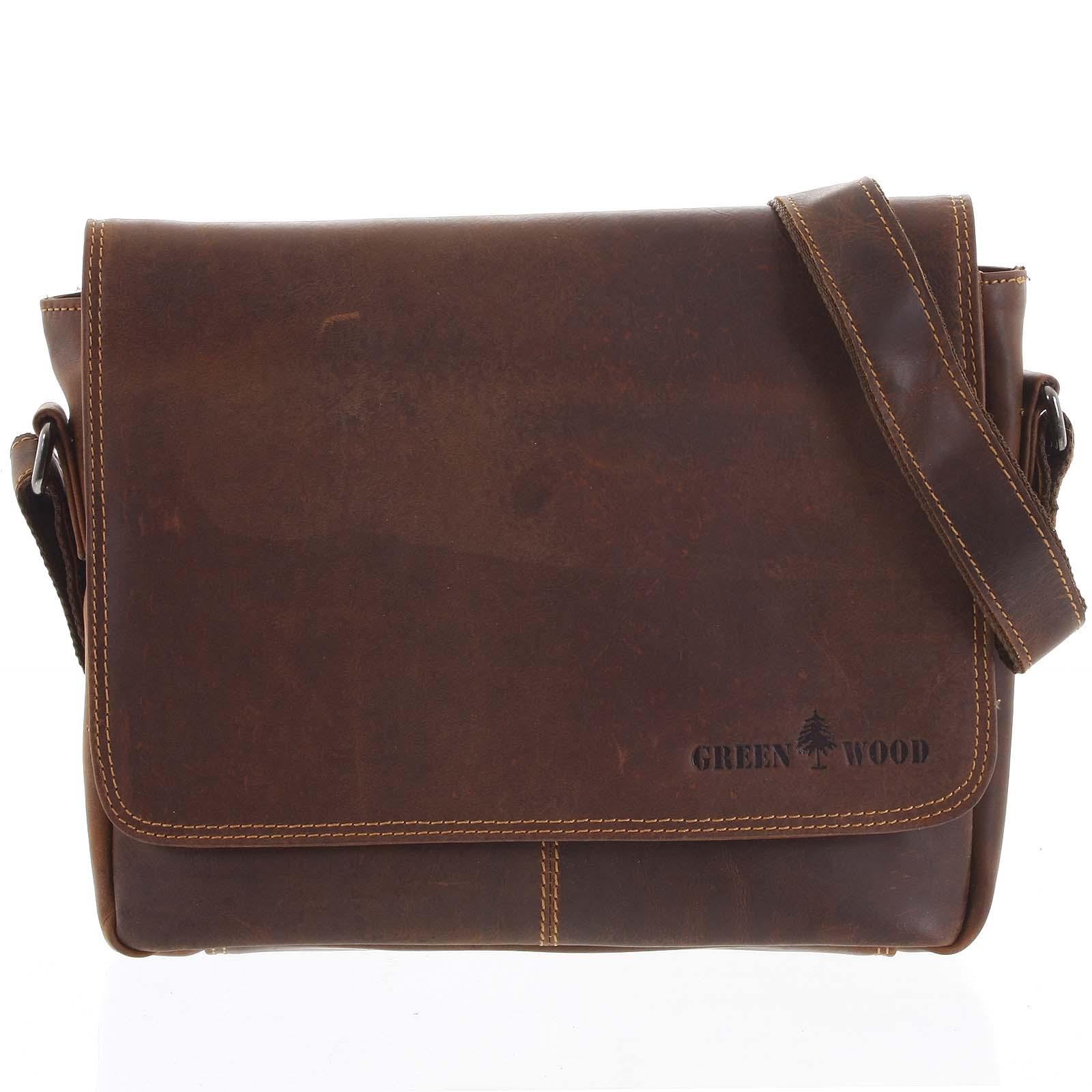 Pánská kožená taška hnědá - Greenwood Jordy