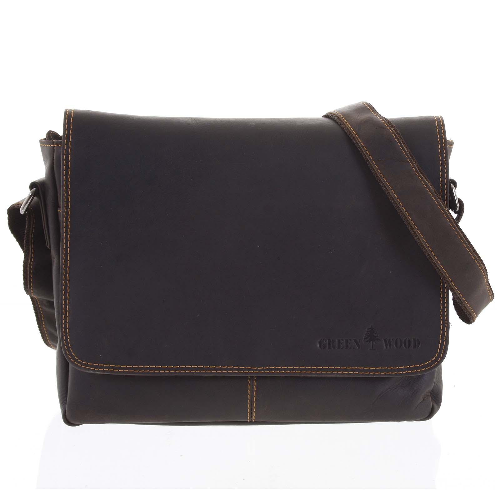 Pánská kožená taška tmavě hnědá - Greenwood Jordy