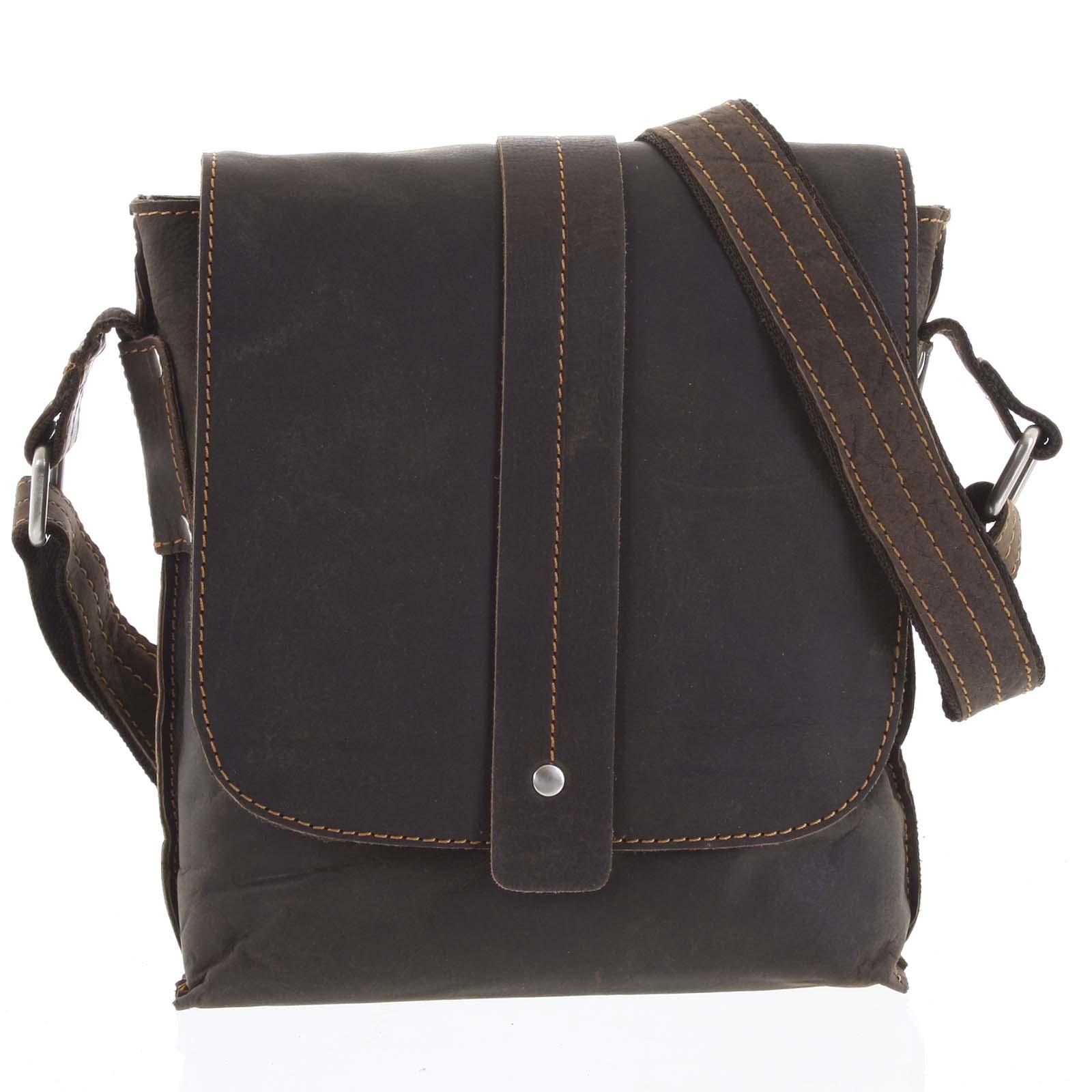 Pánská kožená crossbody taška tmavě hnědá - Greenwood Chester