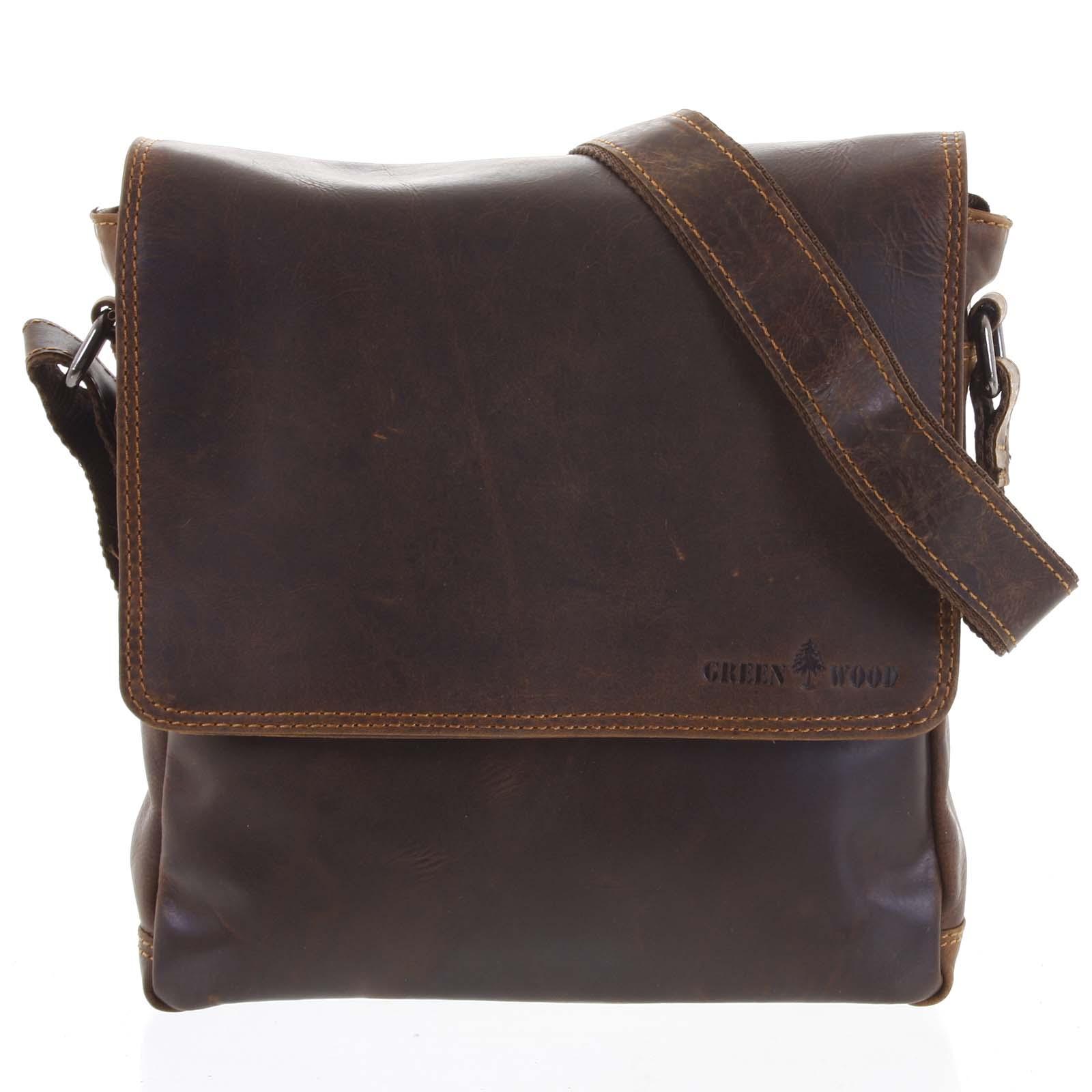 Pánská kožená taška přes rameno hnědá - Greenwood Stranger