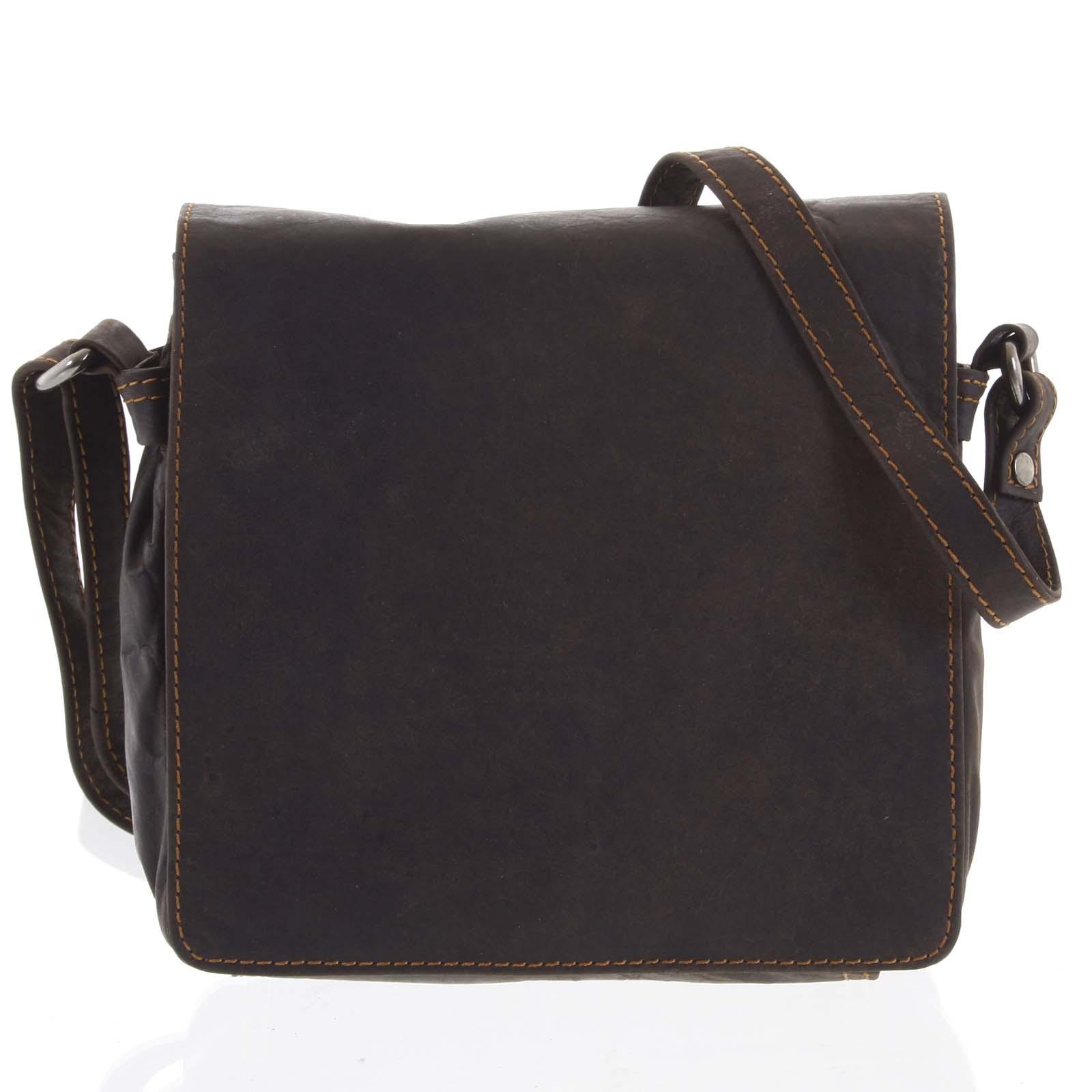 Pánská kožená crossbody taška tmavě hnědá - Greenwood Shallow