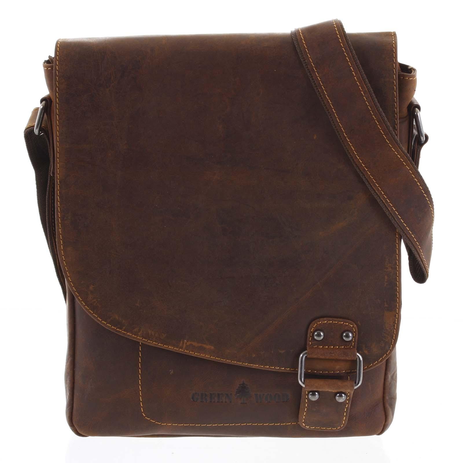 Pánská kožená taška hnědá - Greenwood Maroon