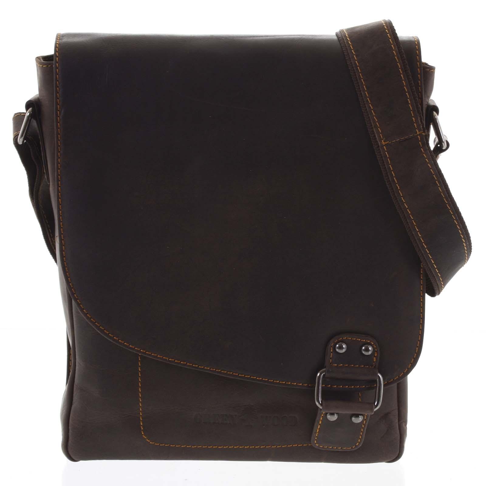 Pánská kožená taška tmavě hnědá - Greenwood Maroon