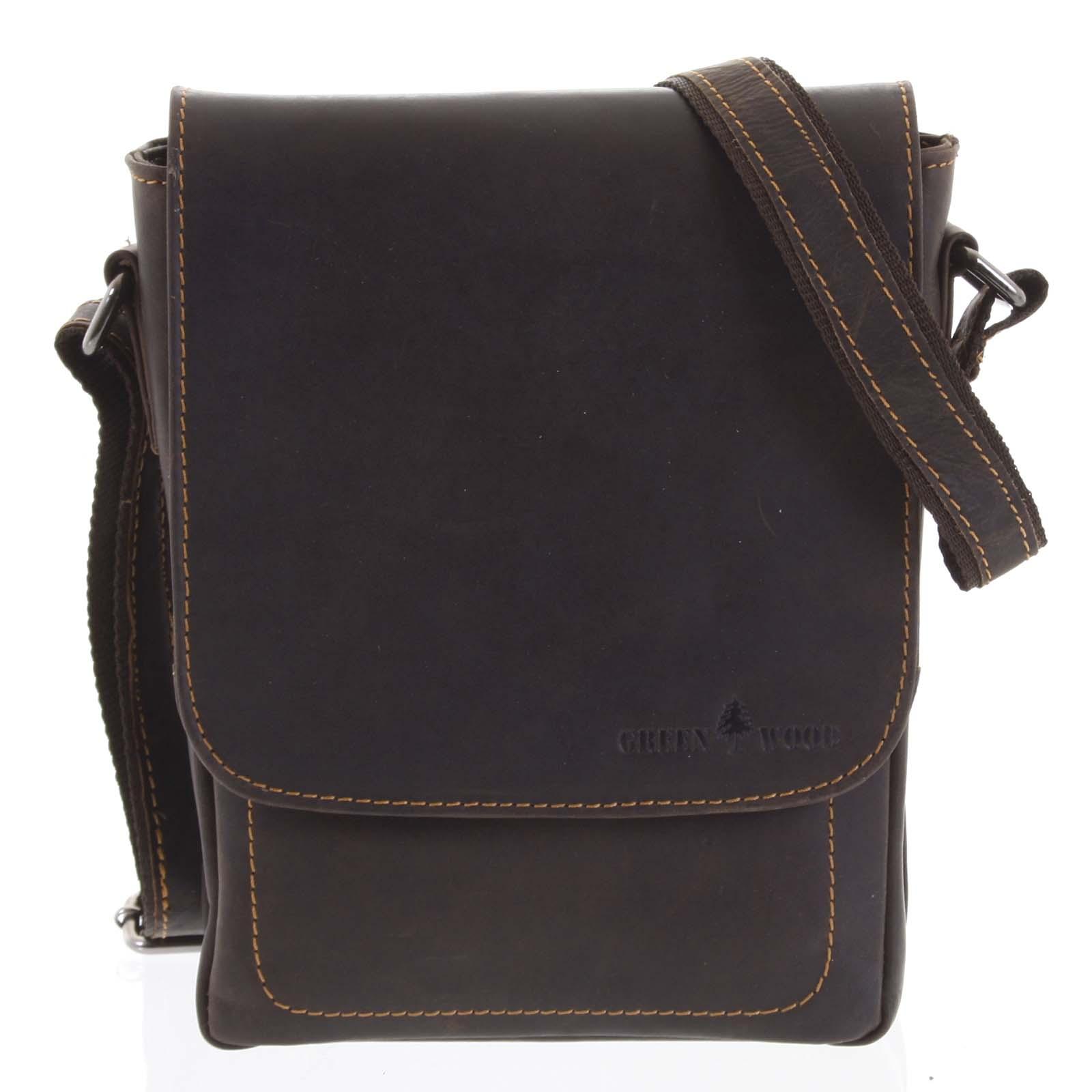 Pánská kožená crossbody taška tmavě hnědá - Greenwood Nash