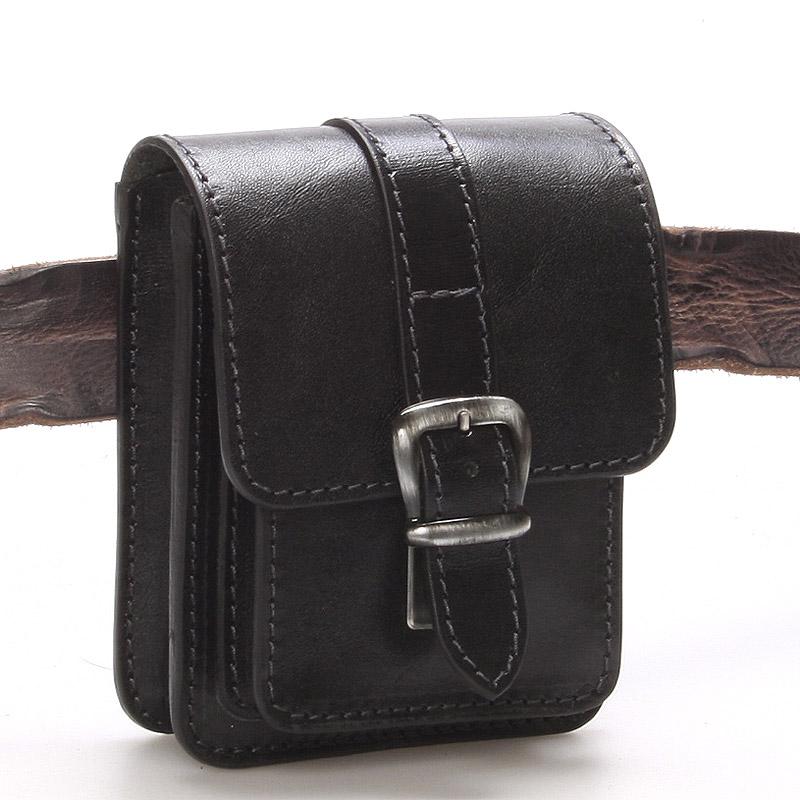 Pánská černá kožená kapsa na opasek - Greisi Gali 2