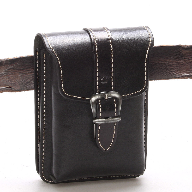 Pánská černá kožená kapsa na opasek - Greisi Gerr 2