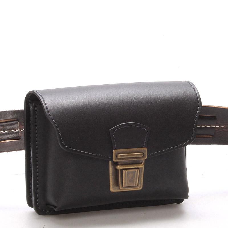 Pánská černá kožená kapsa na opasek - Greisi Gemo