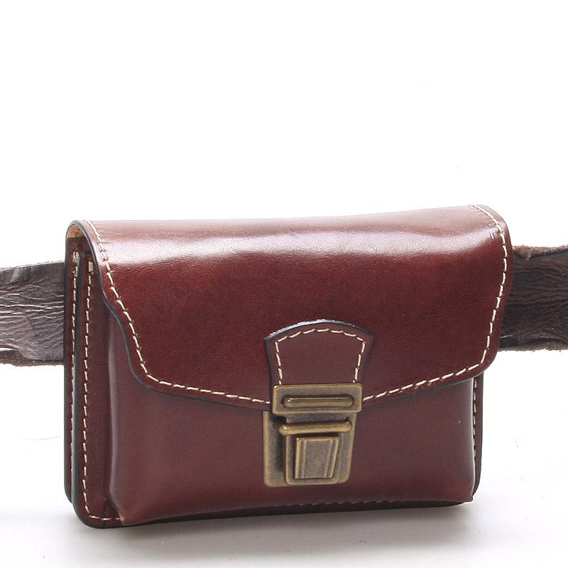 Pánská hnědá kožená kapsa na opasek - Greisi Gemo
