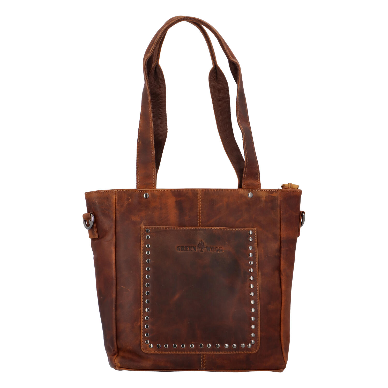 Dámská kožená kabelka přes rameno světle hnědá - Greenwood Gonna