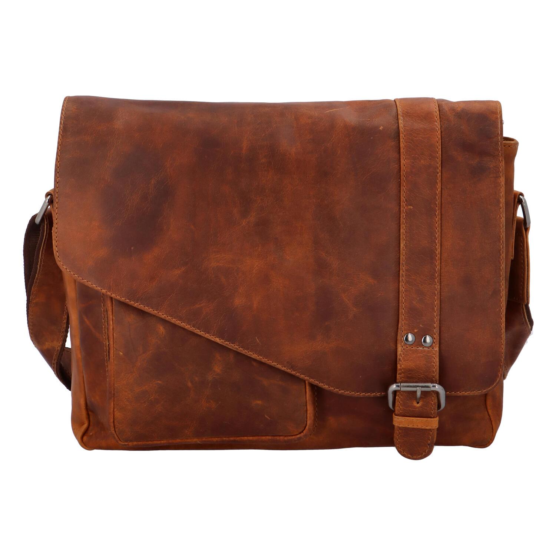 Pánská kožená taška přes rameno světle hnědá - Greenwood Castler