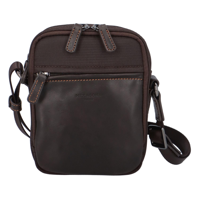 Tmavě hnědá pánská taška přes rameno Hexagona 291329